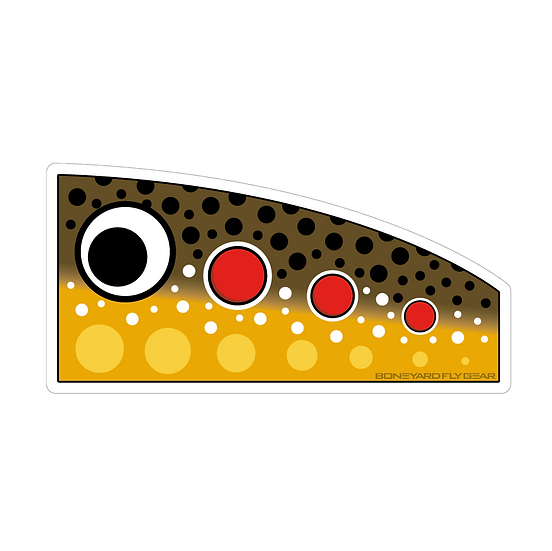 """3.25"""" x 6.5"""" Brown Trout Popper Decal"""