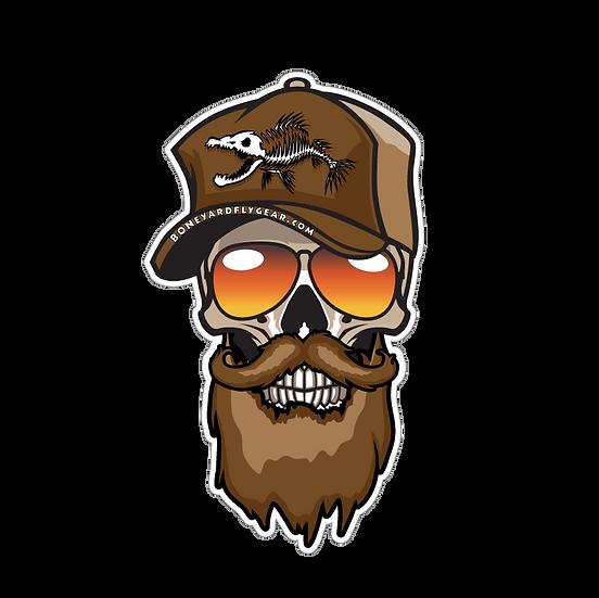 """4"""" x 7"""" Bearded Trucker Skull"""