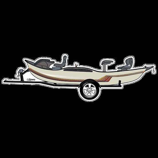 """2"""" x 6.75"""" White Drift Boat"""