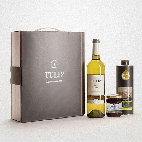 מארז יין לבן יבש , שמן זית וחרוסת