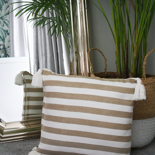 Beige Striped Tassle Cushion Cover