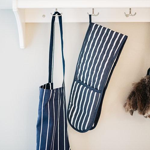 Navy Butchers Stripe Oven Glove