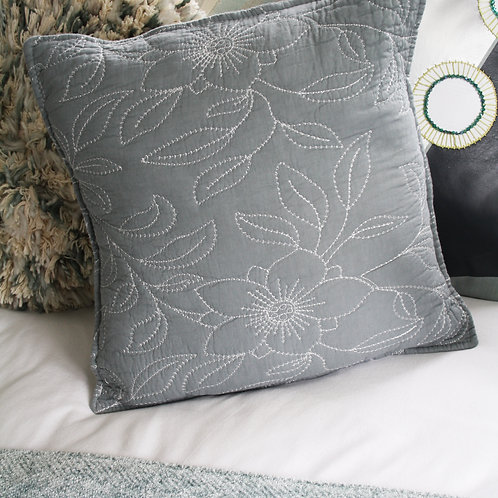 Silver Floral Embroidered Cushion Cover