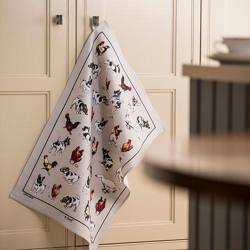 Farmyard Frolics Linen Union Tea Towel