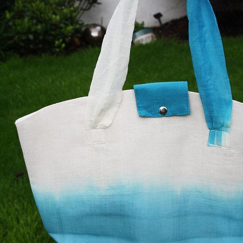 White/ Blue Jute Bag