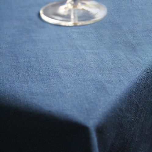 Navy Scalloped Edge Oblong Tablecloth