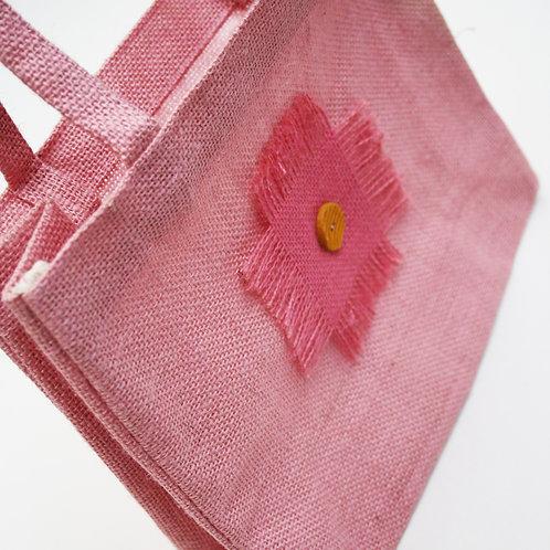 Baby Pink Applique Jute Bag