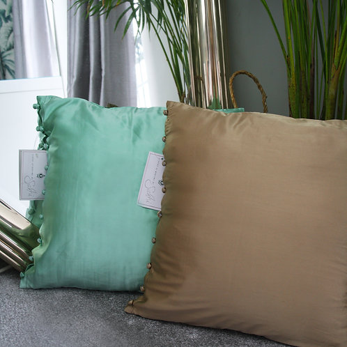 Satin Button Side Cushion Covers