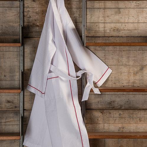 Waffle Kimono Bathrobe White/Red