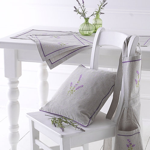 Embroidered Lavender Striped Table Runner