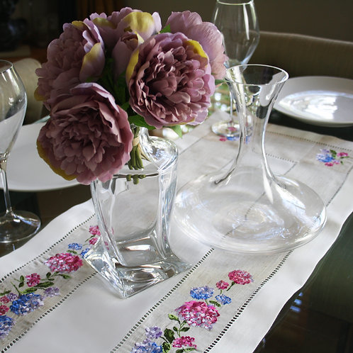 Hydrangea Embroidered Table Runner