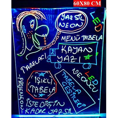 Yaz-sil neon Tabela 60x80 cm   (3 Kalemli)