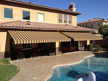 Retractable Awnings Brown And Beige Stri