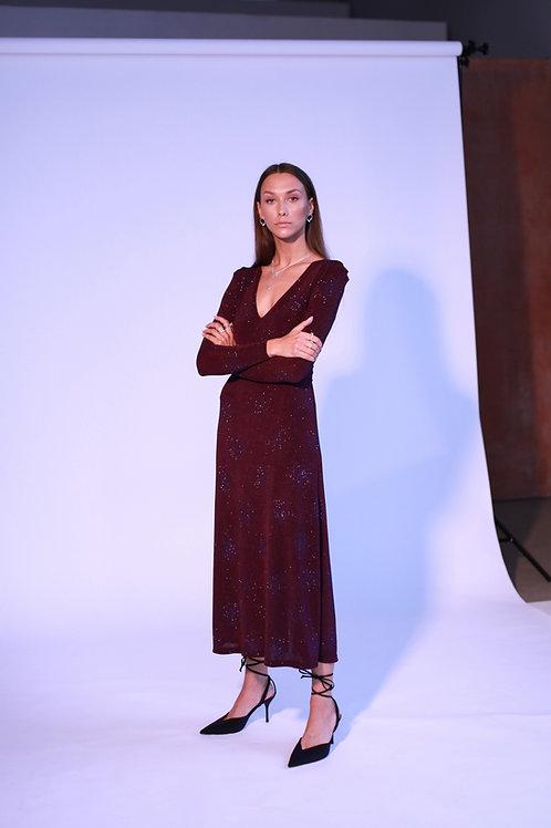 Burgundy glossy suknelė