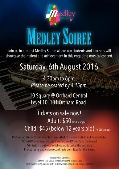 6 Aug 2016 Medley Soiree poster