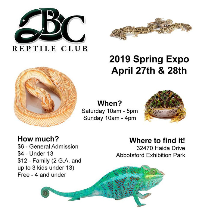 Come see us at the Abbotsford BC Reptile Club Reptile Expo April 27th & 28th, 2019!