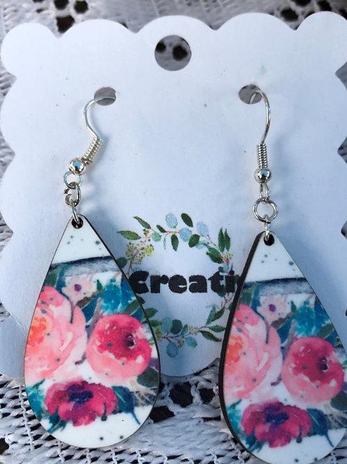 Earrings-Floral Pendant