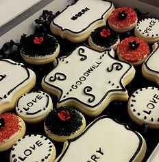 our custom sugar cookies or short bread cookies are soft and moist. we do sweet tables and desserts