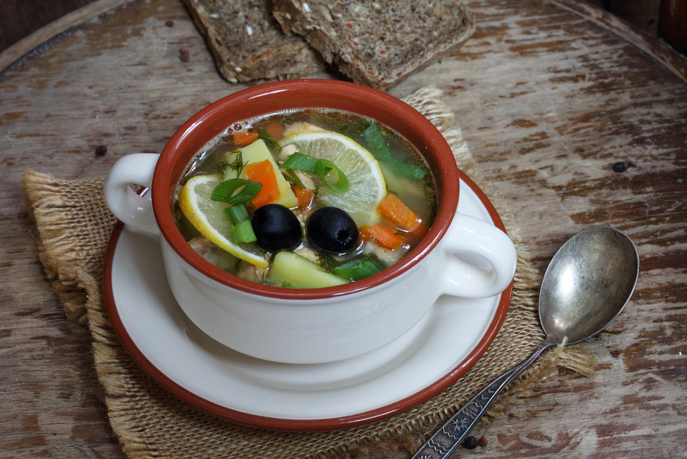 Canva - Salmon Soup with Olives and Lemo