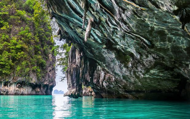 Amazing view of beautiful lagoon with tu