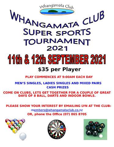 Whangamata Club Super Sports Invite 2021