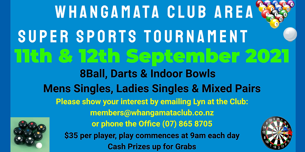 Super Sports Tournament - 11th & 12th September from 9am