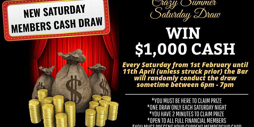 Saturday Night Members Draw - 1st February - 11th April