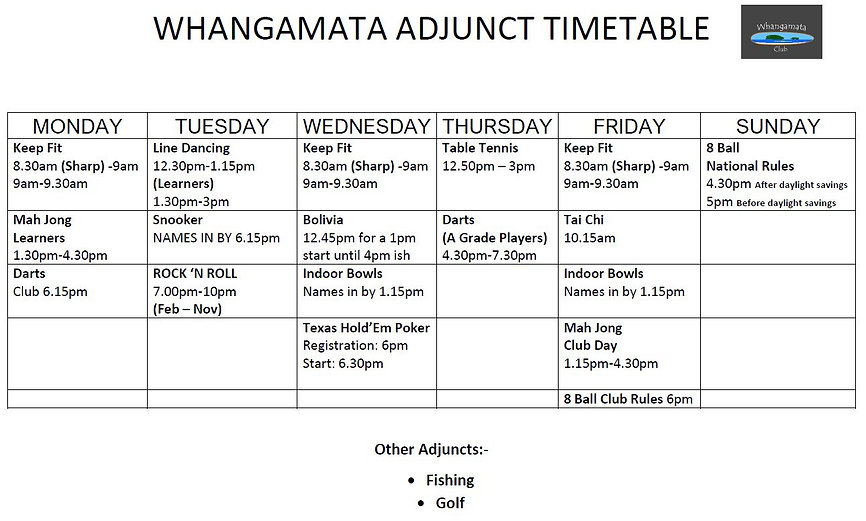 Adjunct Timetable for Website November 2