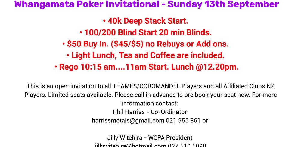 WHANGAMATA POKER INVITATIONAL - Sunday 13th September 2020