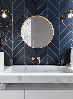 High end ottawa renovations, gold bathroom accents and finishings, best nepean contractos, chevron tile pattern, tile installers.