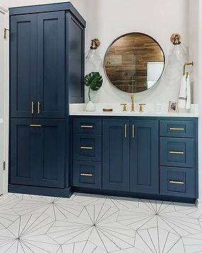 Teal blue vanity Ottawa, Gold handles, round mirror Ottawa, Ottawa bathroom renovations, Copper faucet ottawa, tile installation Ottawa