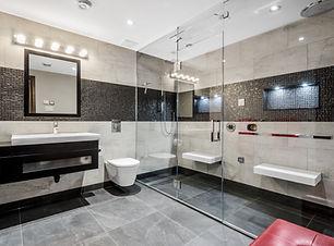 Bathroom renovation, Custom glass shower panel, walk in shower, custom niche, rain shower head