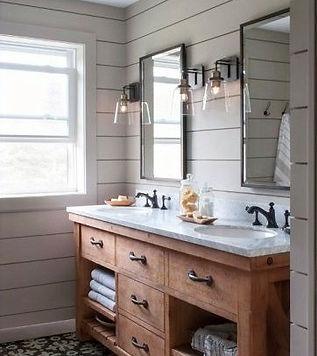 Ottawa bathrom remodeler, Ottawa bathroom renovations, Best ottawa contractors, shiplap wall installation Ottawa, double sink vanity, rustic wood vanity in Ottawa
