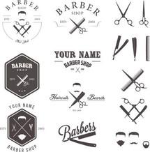 Set of vintage barber shop labels, badge