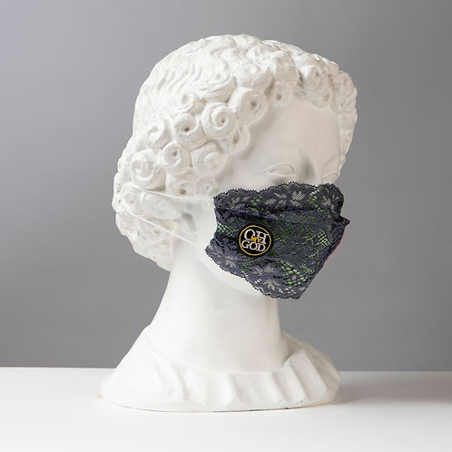 Υφασμάτινη Βαμβακερή Μάσκα με Δαντέλες D103
