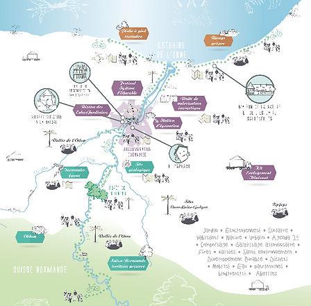 Carte mission CPIE Vallée de l'Orne. Eco appart, maison de la nature, musée d'initiation à la nature, centre de ressource
