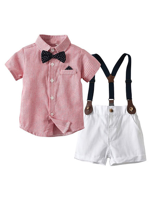 2 Piece British Style Shirt Matching Bow Tie with Suspender shorts
