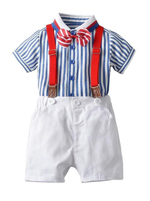 4 Piece Stripe Shirt Matching Bow Tie+White Suspender Shorts