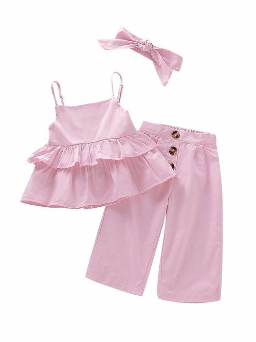 3-Piece Summer Stylish Pink Ruffle Suspender Top+Buttoned Pants+Headband