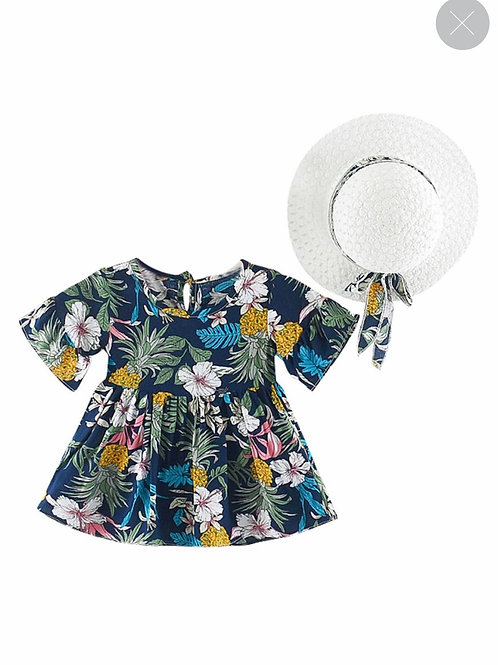 2 Piece Floral Dress with Matching Hat