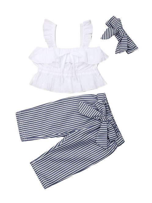 3 Piece White Ruffle Top+Stripe Pants with Headband