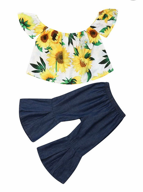 2 Piece Sunflower Off Shoulder Top & Bell Bottoms
