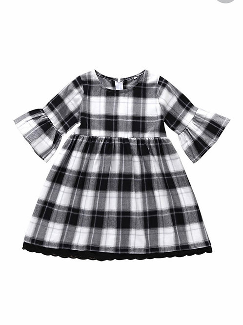 Flare Sleeved Gingham Dress
