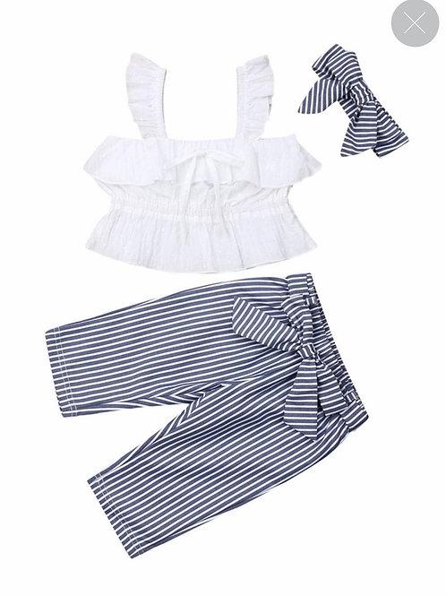 3-Piece White Ruffle Top+Stripe Pants