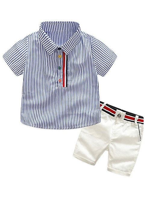 2 Piece Casual Outfit Stripe Shirt with Matching Pants