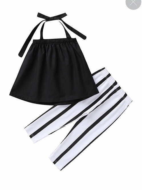 2-Piece Fashion Tie Black Top with Stripe Pants