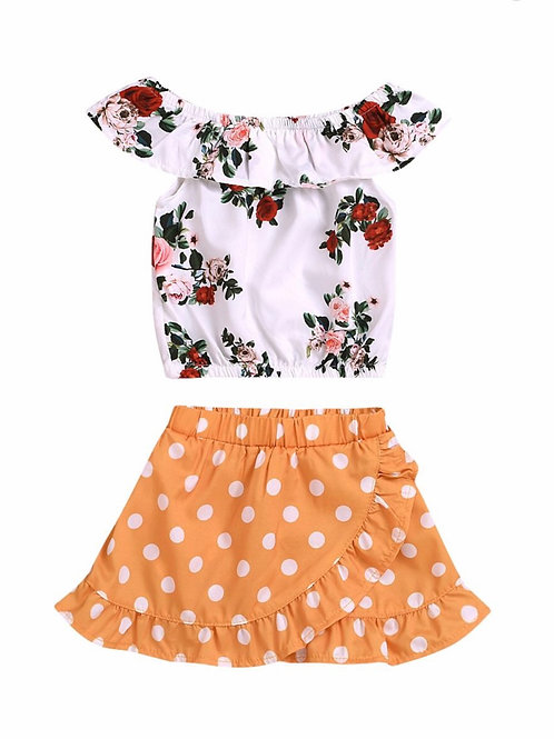 2-Piece Flower Top Matching Polka Dots Ruffle Skirt