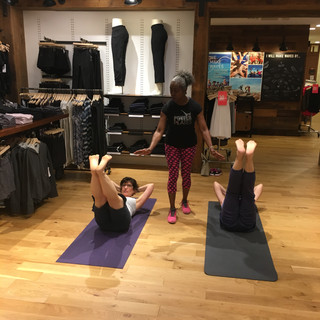 Crystal teaching Pilates at ATHLETA in Willowbrook Mall July 2017