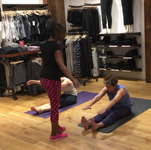 Crystal teaching Pilates at ATHLETA in Willowbrook Mall July 16th 2017.