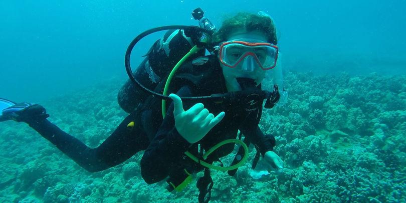scuba diving student
